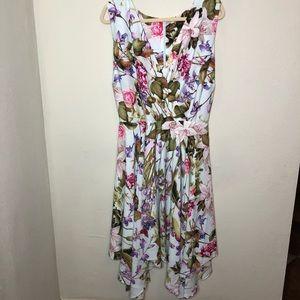 Floral Handkerchief Hem Dress 22W